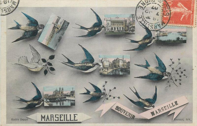 CPA France Souvenir Marseille swallow birds multi views 1907 postcard