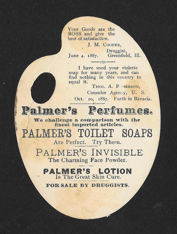 VICTORIAN TRADE CARD Palmer Perfumer Girl Hat Diecut Palette