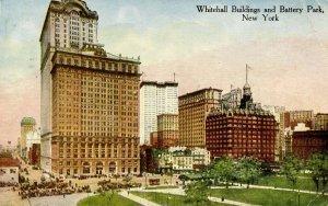 NY - New York City. Whitehall Buildings & Battery Park