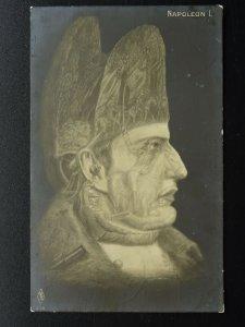 Portrait NAPOLEON BONAPARTE shows Battle Images (2) c1910 RP Postcard by PFB
