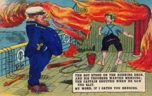 The Boy Stood On The Burning Deck Fire On Ship Poem Old Comic Humour Postcard