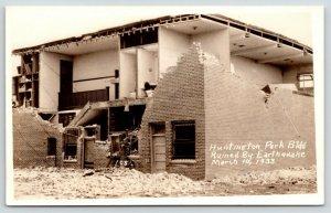 Los Angeles CA~Huntington Park Building Ruined by Earthquake~Bathrooms~1933 RPPC