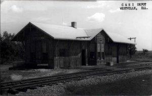 Westville IL C&EI RR Train Depot Station Real Photo Postcard