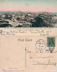 SAN JUAN PUERTO VIEW 1908 ANTIQUE POSTCARD w/ CORK STAMP