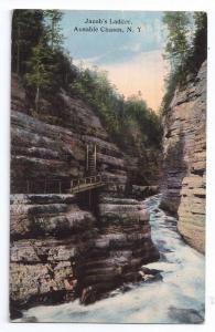 Ausable Chasm N.Y. Jacob's ladder 1914 Postcard Curteich