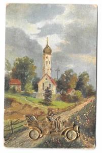 Vintage Novelty Postcard Antique Auto Car Gold 3D AddOn Country Church Scene