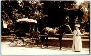 Vintage RPPC Photo Postcard Wealthy Woman / Horse & Carriage So. Cal. c1910s