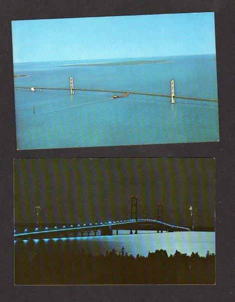 MI Lot 2 Mackinac Island Bridge MICHIGAN Postcards Carte Postale