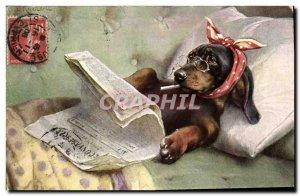 Old Postcard Basset Hound Dogs Journal