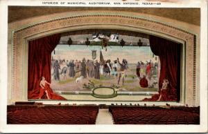 San Antonio Texas~Interior Of Municipal Auditorium~Stage Curtain Mural~1920s