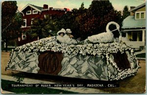 1910s Pasadena CA Postcard TOURNAMENT OF ROSES, NEW YEAR'S DAY Parade Float