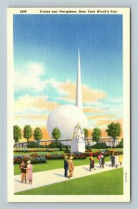 1939 New York World's Fair - Trylon and Perisphere - Linen Postcard