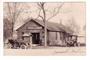 Real Photo Cars in Front of Garage, Jonesville, Michigan
