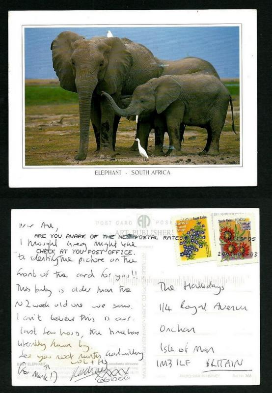 SOUTH AFRICA  POSTCARD-STAMP-ELEPHANTS
