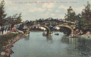 SAN FRANCISCO, California, 1900-10s; Rustic bridge over Stow Lake, Golden Gat...