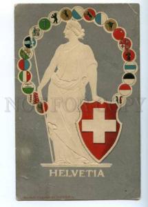 176423 HELVETIA Switzerland Coat of arms FLAG Vintage PC
