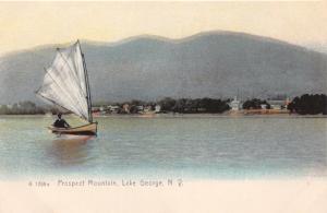 LAKE GEORGE NY SAILBOAT~PROSPECT MOUNTAIN~ROTOGRAPH #1298 PUBL POSTCARD 1900s
