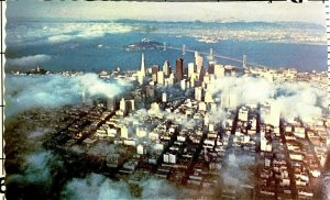 San Francisco California Vintage Foggy Day Aerial View Posted