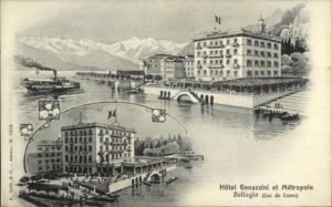 Bellagio Italy Hotel Genazzini et Metropole Lago di Como c1910 Postcard