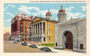 York PA~York County National Bank Court house And Hotel Yorktowne~1920 PC