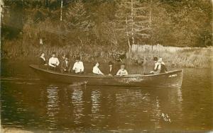 Alivira  C-1910 Family Long Rowboat RPPC Photo Postcard large boat 3573