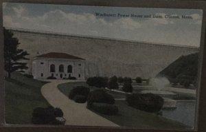 Vintage Curteich Postcard 1914 Wachusett Power House and Dam. Clinton. Mass.