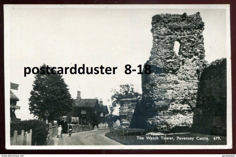 dc1654 - ENGLAND Pevensey 1940s Castle Watch Tower. Real Photo Postcard