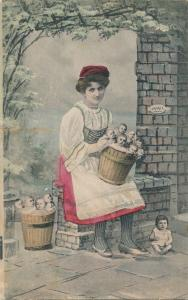 Multiple Babies Greetings Fantasy - Lady with Buckets of Babies - K.V.i.B - DB