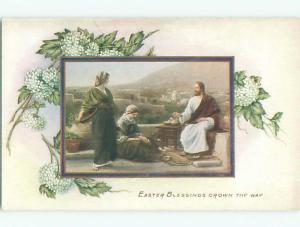 Unused Pre-Linen easter religious JESUS SITTING WITH TWO WOMEN k2047