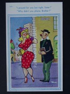 Preacher Vicar I PRAYED FOR YOU LAST NIGHT SISTER Comic Postcard by Brook Co Ltd