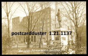 1137 - HALIFAX NS 1930s Lord Nelson Hotel Monument. Real Photo Postcard
