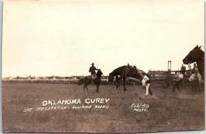 RPPC Oklahoma Curey Off Hesitation Alliance Nebraska Rodeo Real Photo Postcard