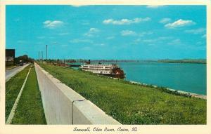 Cairo Illinois~Ohio River Seawall~Sternwheeler Paddle Boat Docked~1965 Postcard