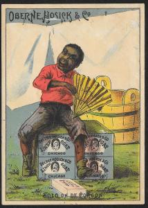 VICTORIAN TRADE CARD Oberne Hosick Linen Soap Black Man Solo on de Corgon