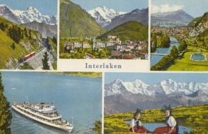 Switzerland, Suisse, Interlaken, multi view, 1964 used Postcard