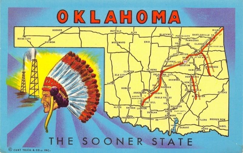 Oklahoma State Highway Map Postcard~Route 44~Boise City~Snyder~Hugo on oklahoma map with all cities, political map oklahoma cities, map of oklahoma city and surrounding cities, printable oklahoma map cities, texas-oklahoma map with cities, arkansas county map with cities, oklahoma-texas map showing cities, tulsa oklahoma map cities, oklahoma state major cities, oklahoma state road maps and cities, ardmore shooting, ardmore woodford shale, ardmore ok,