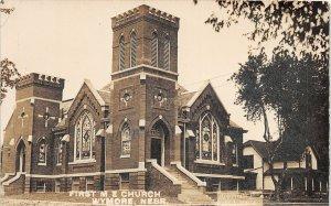 G32/ Wymore Nebraska RPPC Postcard 1922 First M.E. Church Building