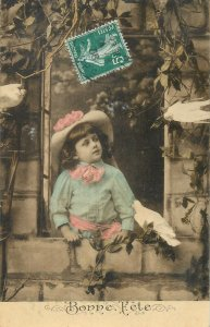 Postcard young girl vintage outfit fancy hat