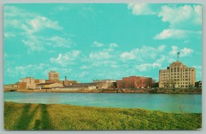 Saginaw Michigan~Downtown~Looking East Over the Saginaw River~c1950 Postcard