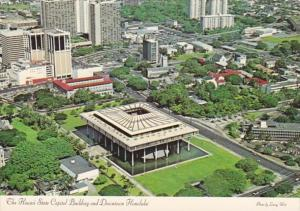 Hawaii Honolulu Downtown and State Capitol Building