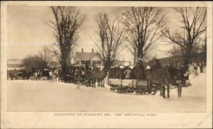 Horse Sleigh Founder's Day Winter Scene East Northfield MA Postcard c1910