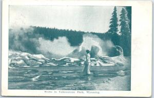Yellowstone National Park Wyoming Postcard Woman at Geysers c1910s Unused