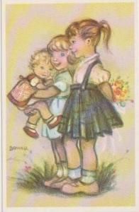 BONNIE: Little Folks Sketch Series: One Girl Carrying Bouquet of Flowers, One...