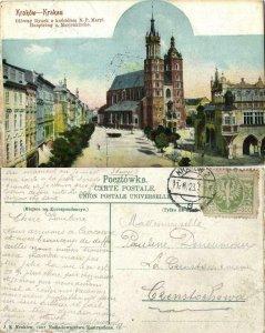 poland, KRAKOW KRAKAU, Market Square with Maria Church (1923) Postcard