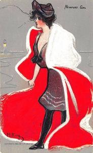 Newport Girl Hamilton King Artist 1907 Postcard