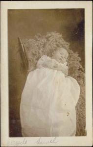 Cute Little BABY CHILD DRESS Chair Real Photo (1910s) RPPC
