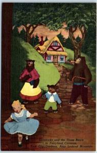 Vintage ROCK CITY Lookout Mtn GA TN Postcard Goldilocks & The 3 Bears Linen