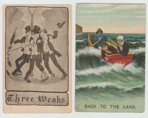 Pre-Prohibition Drunk Liquor Bums lot of 2 Postcard