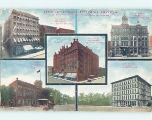 Divided-Back FIVE HOTELS ON POSTCARD Oskaloosa & Keokuk & Des Moines IA B5003