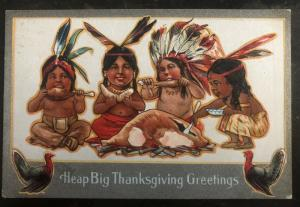 1910s USA Postcard Cover Native American Heap Big Thanksgiving Greetings